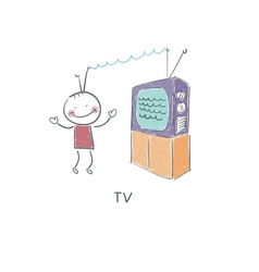 TV and man vector image