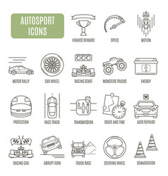 autosport icons set of pictogram vector image vector image