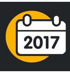christmas circle yellow icon new year vector image