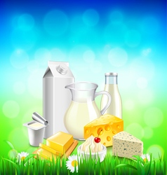 Dairy products on green grass blue sky background vector image