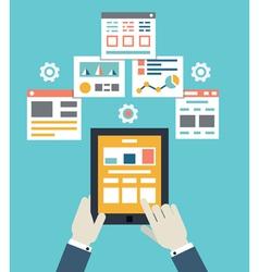 Flat mobile application optimization programming vector image