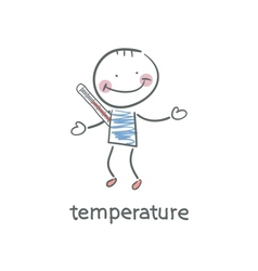 Man measures the body temperature vector image vector image