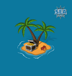 pirate island with treasures on a blue background vector image