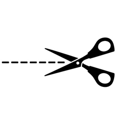 scissors silhouette and cut line vector image