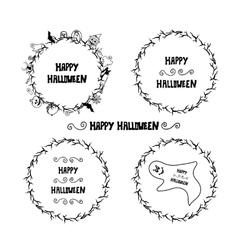 Set of happy halloween vintage badges emblems and vector image