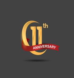 11 anniversary design logotype golden color vector