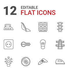 12 electric icons vector