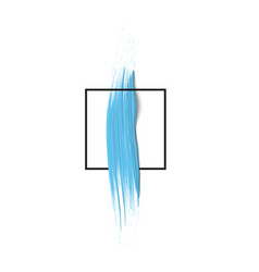 3d blue vertical paint brush stroke with square vector image