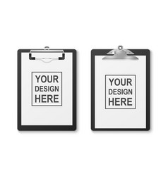 3d realistic black clipboard with folded vector