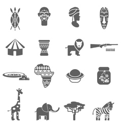 African culture black icons set vector
