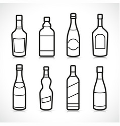 Alcohol bottles icons set vector