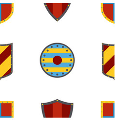 Ancient shields pattern heraldic shields in flat vector