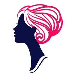 Beautiful womanl silhouette with stylish hairstyle vector image
