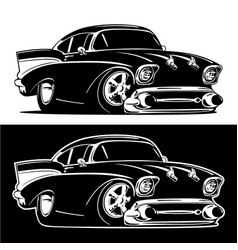 black and white classic american hot rod cartoon vector image