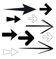 Black arrows simple outline and silhouette vector