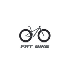 black fat mountain bike silhouette logo all vector image