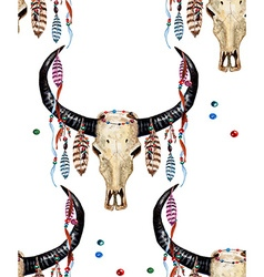 Buffalo Skull and Feather pattern3W vector