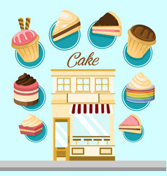 Cake shop infographic design vector
