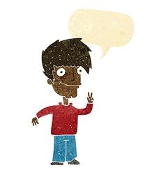 Cartoon man giving peace sign with speech bubble vector