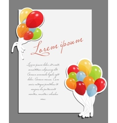 Celebrating blank page with balloons vector