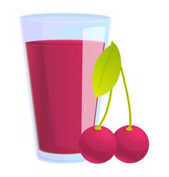 Cherry juice glass icon cartoon style vector