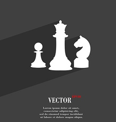 Chess Game symbol Flat modern web design with long vector