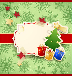 christmas background with label tree and gifts vector image