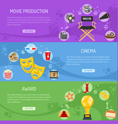 cinema and movie horizontal banners vector image