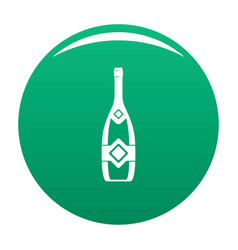 Closed champagne icon green vector