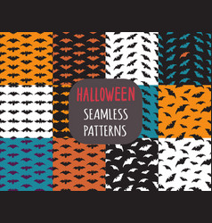 Collection 16 seamless patterns with bats vector