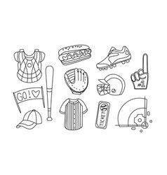 collection baseball equipment hand drawn vector image