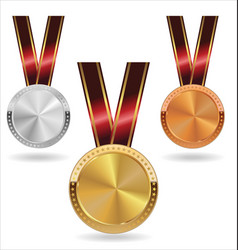 collection gold silver and bronze medals on vector image
