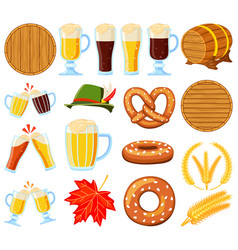 Colorful cartoon 18 oktoberfest elements set vector