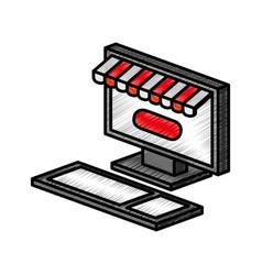 computer desktop with parasol icon vector image