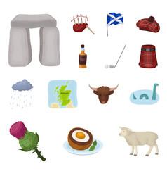 Country scotland cartoon icons in set collection vector