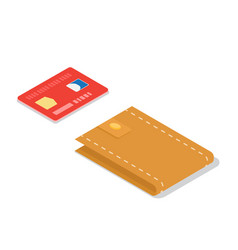 Credit card and leather wallet isometric vector