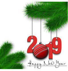 Cricket ball and 2019 on a christmas tree branch vector