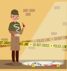 crime scene detective at crime scene flat cartoon vector image