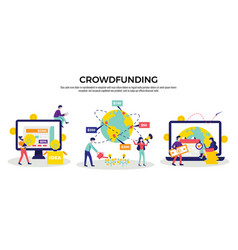 crowdfunding compositions horizontal set vector image