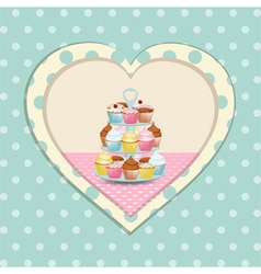 cupcake stand and polka dot heart vector image