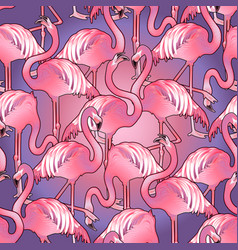 Cute graphic flamingo pattern vector