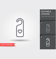 door hanger with heart line icon with shadow and vector image