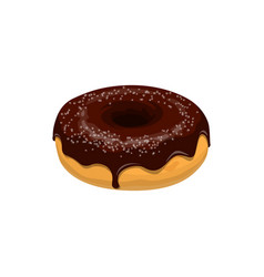 doughnut with chocolate isolated cake vector image