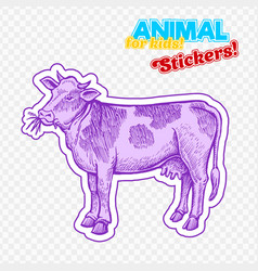 Farm animal cow in sketch style on colorful vector