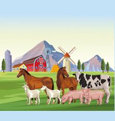 Farm animals cartoons vector