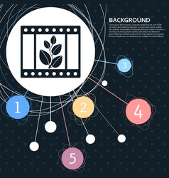 film icon with the background to the point and vector image