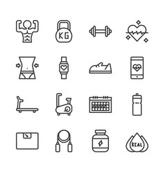 fitness related icon set vector image
