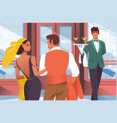 flat young man and woman couple before entering in vector image