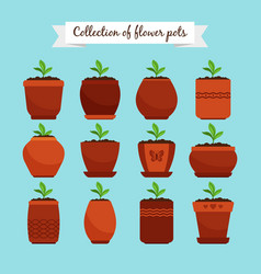 Flowerpots with soil and sprouts vector