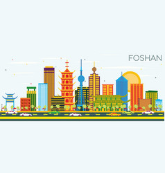 foshan china skyline with color buildings and vector image
